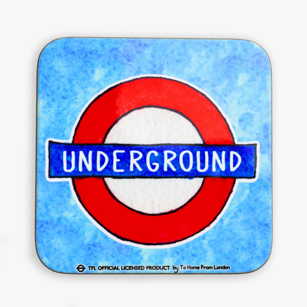 Underground Roundel Coaster - Blue - To Home From London