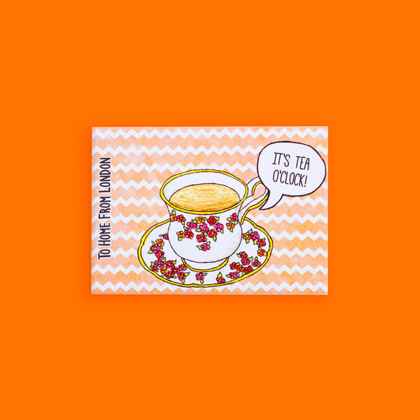 Tea Cup Postcard - To Home From London