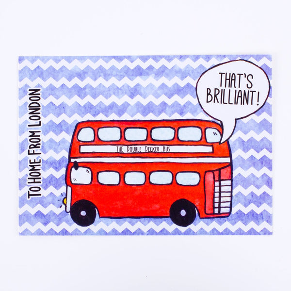 Double Decker Postcard - To Home From London