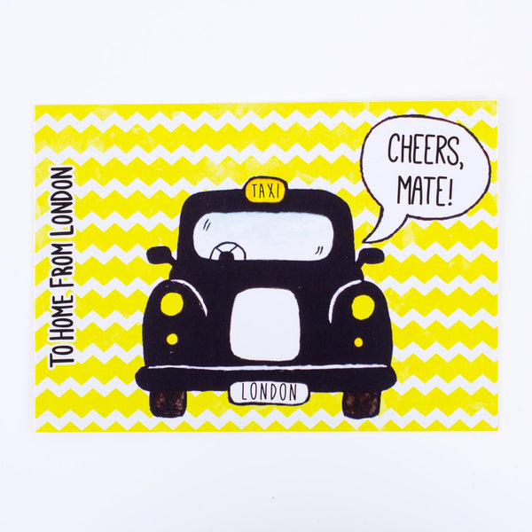 Black Cab Postcard - To Home From London
