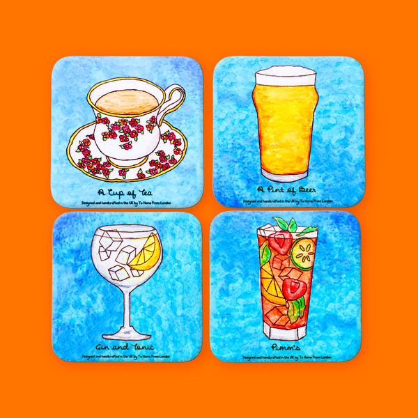 British Drinks Coaster Set - To Home From London