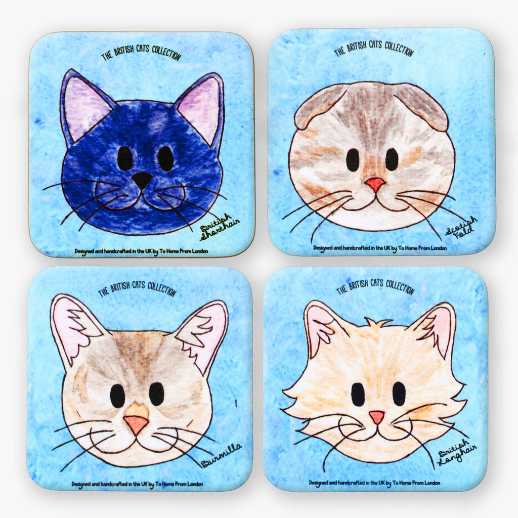 British Cats Coaster Set - To Home From London
