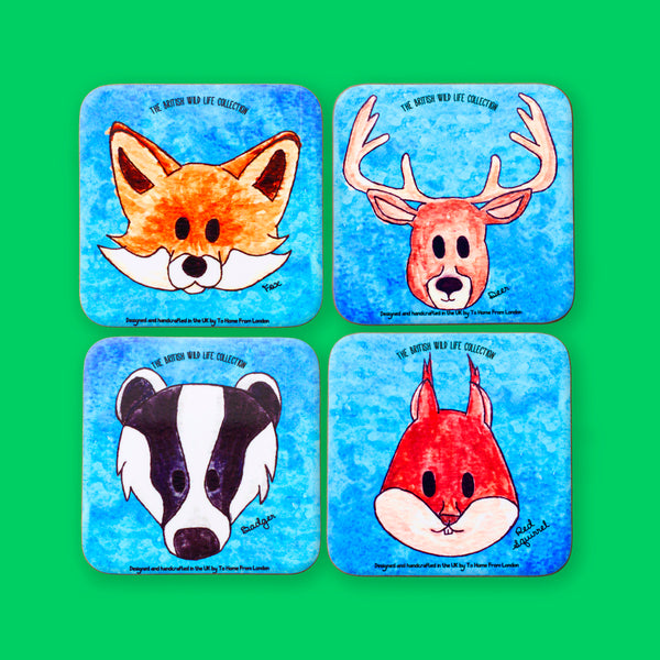 British Wild Life Coaster Set - To Home From London