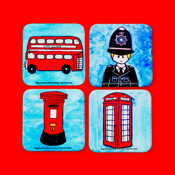 British Icons Coaster Set #4 - To Home From London