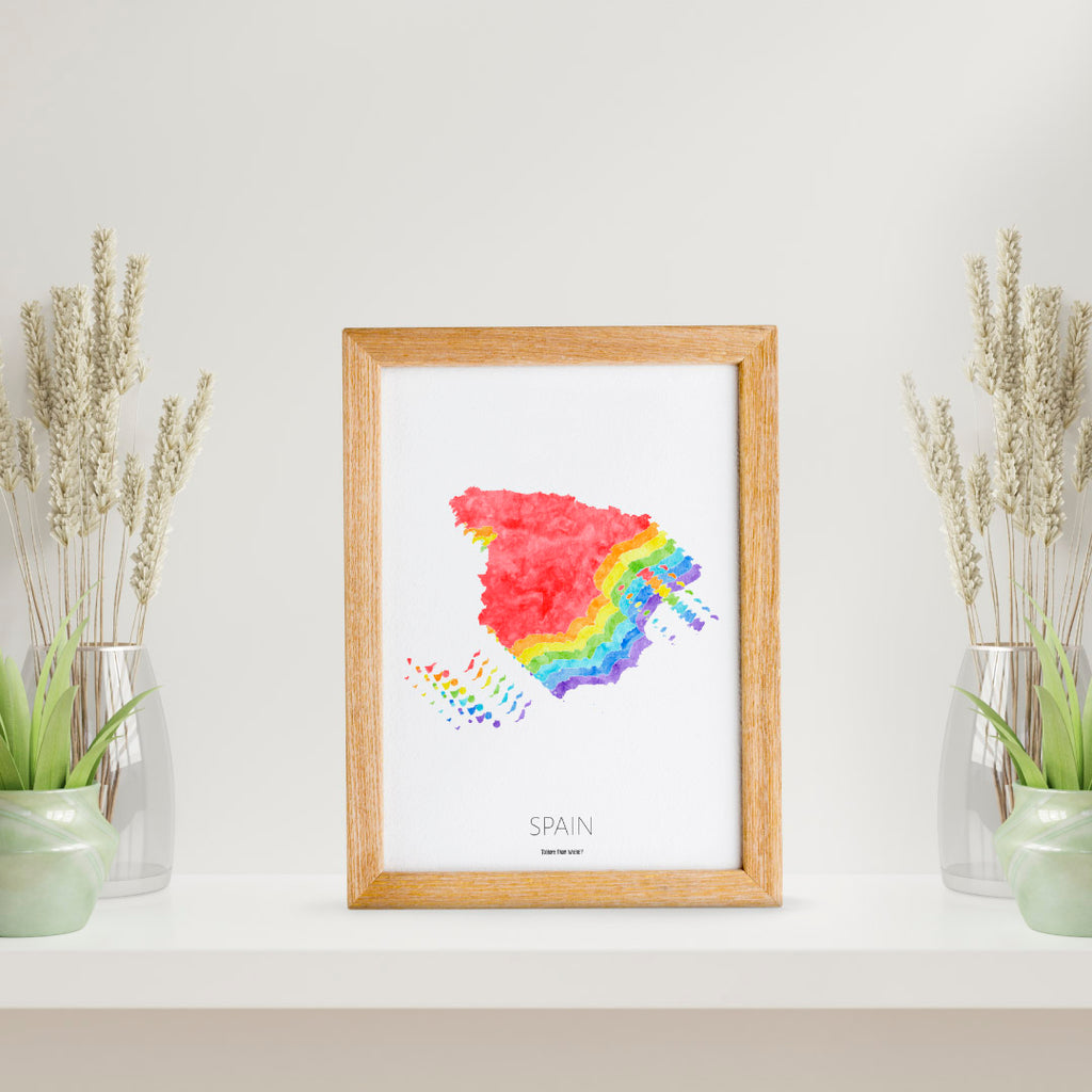 Spain Rainbow Map Print - To Home From London