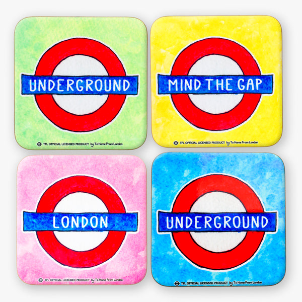 Underground Roundel Coaster Set - To Home From London