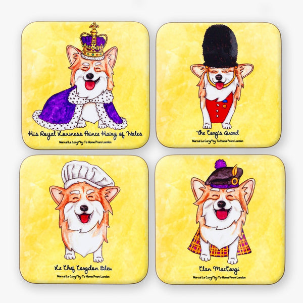Le Corgi Coaster Set - To Home From London