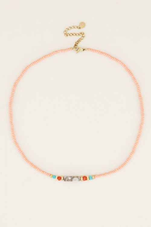 Necklace choker beads pink