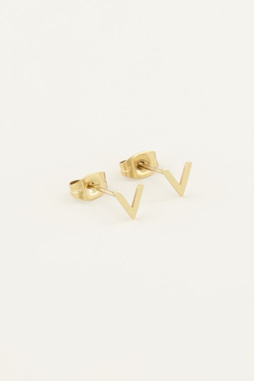 Earrings stud - gold v