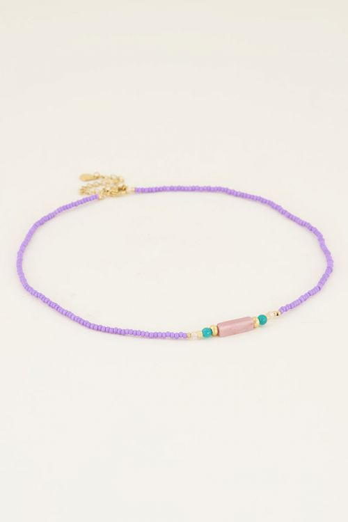 Necklace choker beads purple