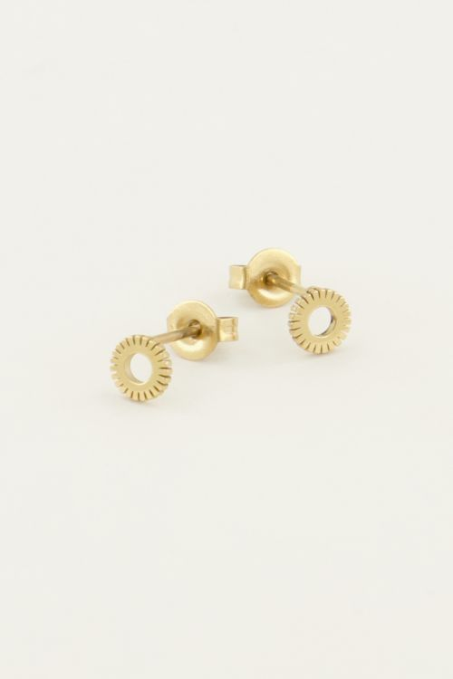 Earrings stud - gold sun 2