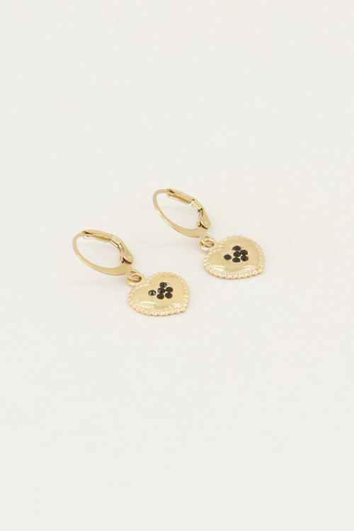Earrings heart strass black