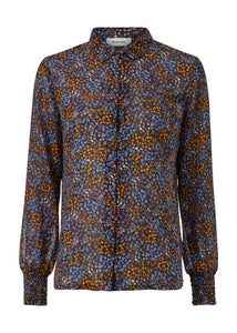 Flame print shirt - Blue poetry flower