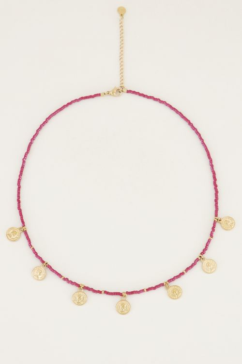 Necklace beads and coins red