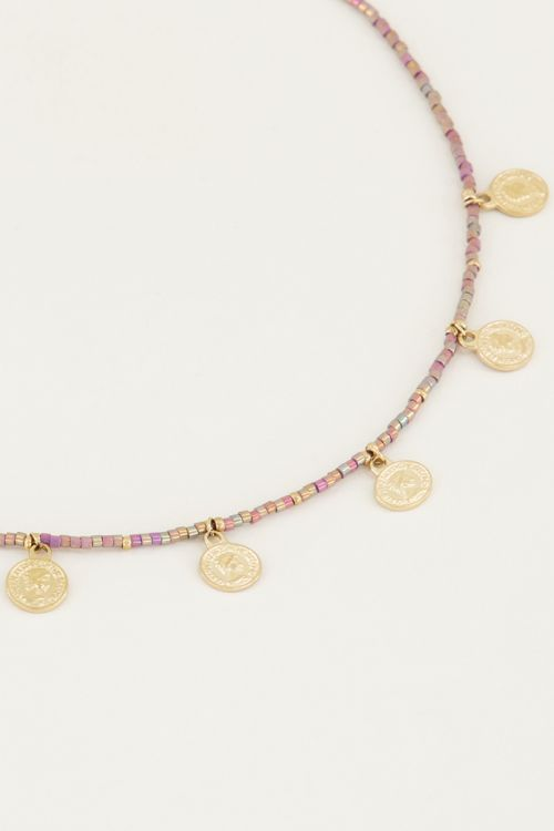 Necklace beads and coins multi