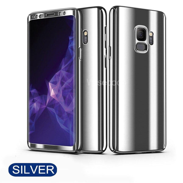 Plating 360° Full Body PC Front+Back Cover Protective Case+Tempered Screen Protector For Samsung Galaxy S9/S9 Plus