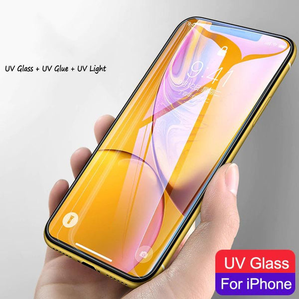 Nano Liquid UV Tempered Glass For Iphone X/XR/XS MAX Screen Protector For Iphone 7/8 Plus UV Protective Film Glue Full Light
