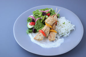 Thursday April 22: Grilled Chicken Skewers with Sweet Peppers and Tzatziki Sauce