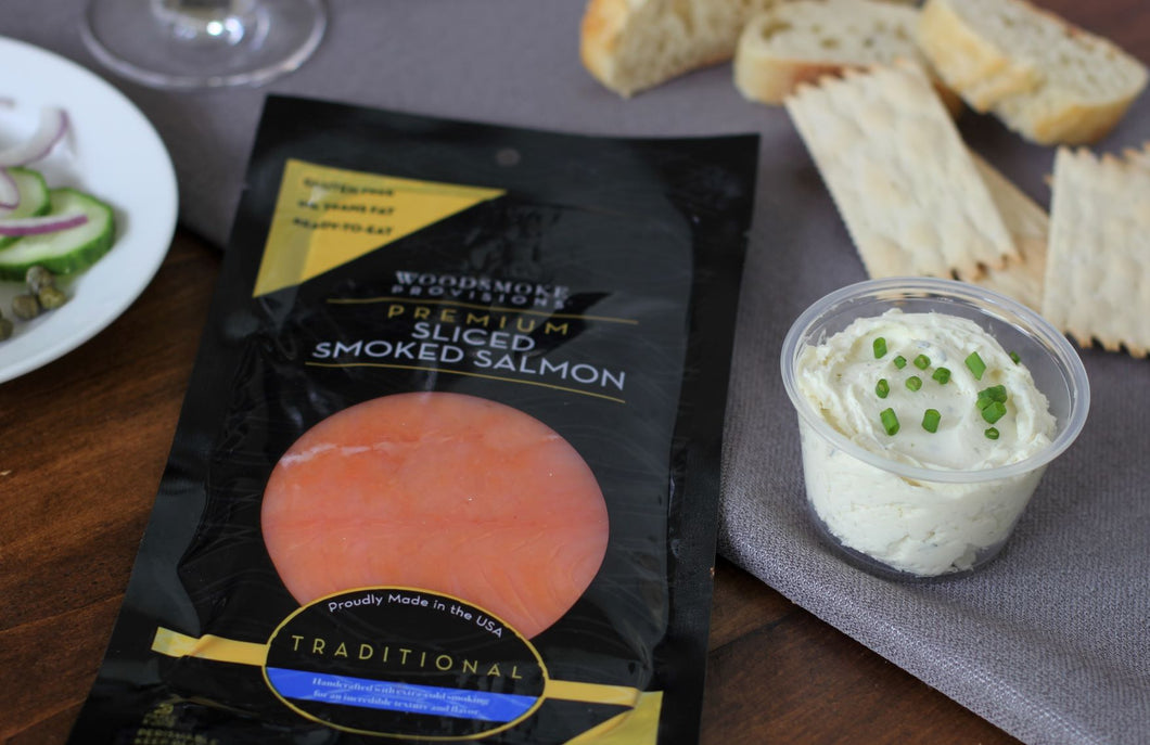 Woodsmoke Provisions Premium Sliced Smoked Salmon with our own Boursin Spread