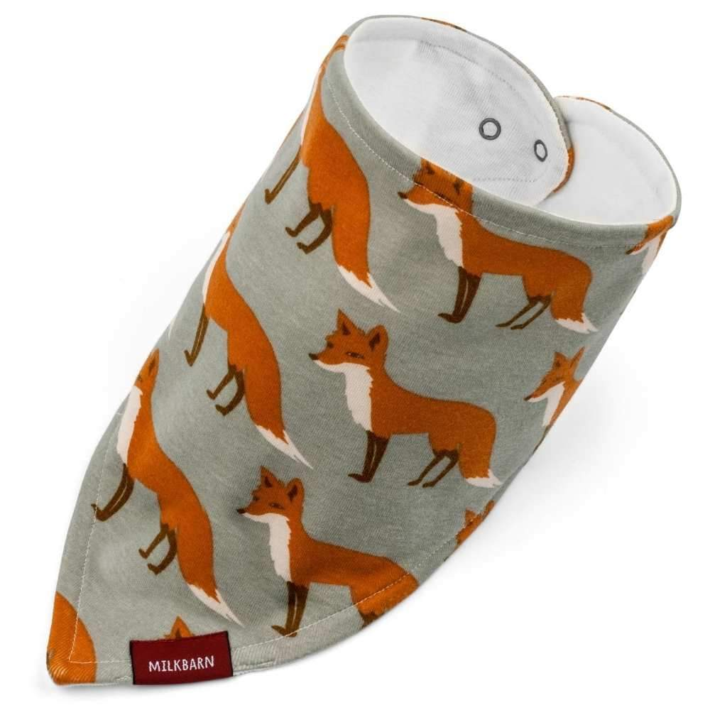 Kerchief Bib Orange Fox, Organic Cotton