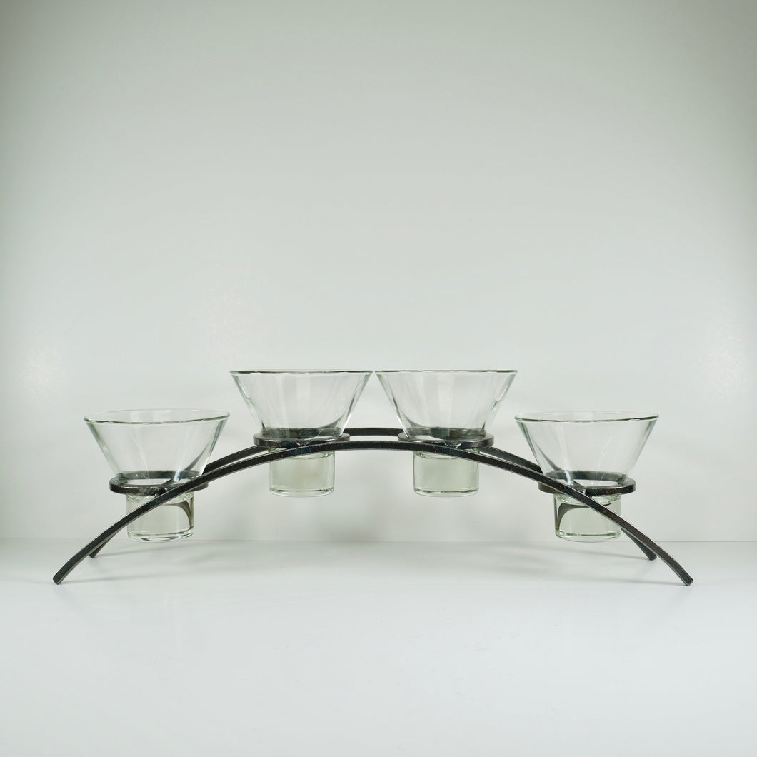 Iron Candleholder with Glass Cups
