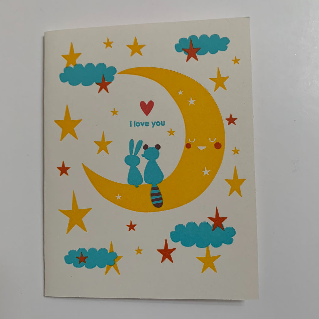 I Love You (Animals on Moon) Card
