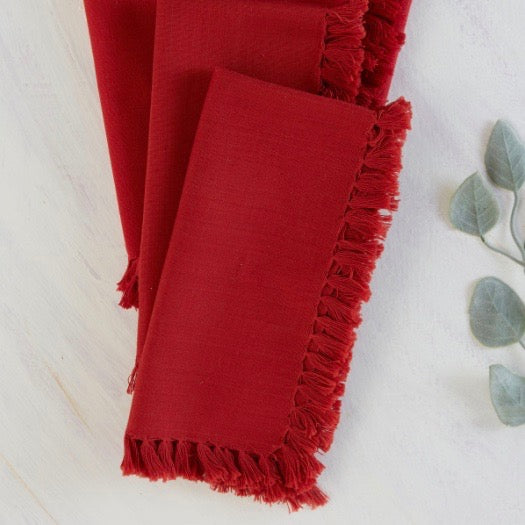 April Cornell - Red Essential Fringed Napkins, Set of 4