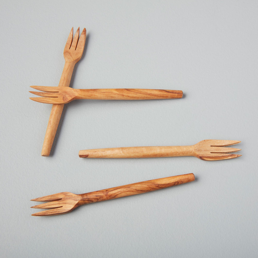Olive Wood Cocktail Forks