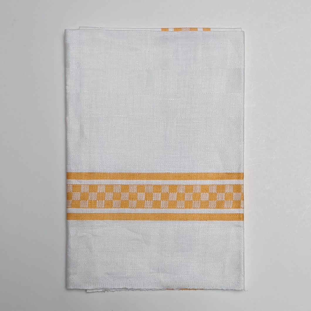 Traditional Checked Jacquard Tea Towel, Yellow on White