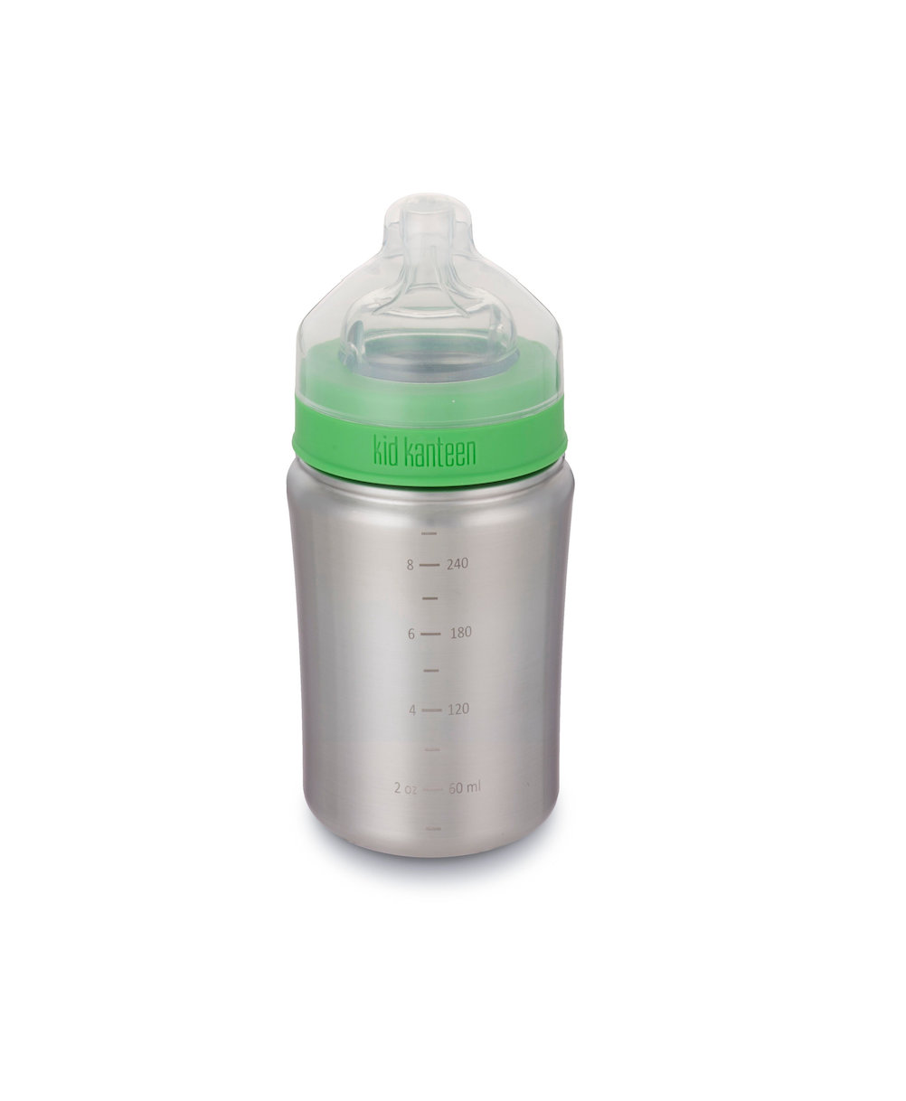 Brushed stainless steel contoured bottle with bright green cap and clear silicone nipple. Bottle has a clear cap that covers the nipple. Milileter and ounce lines are marked on the side of the bottle.