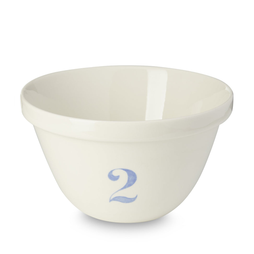 Burleigh White Natural Blue Pudding Basin Set - Complete Set, Bowls 1 - 4 (RETIRED)