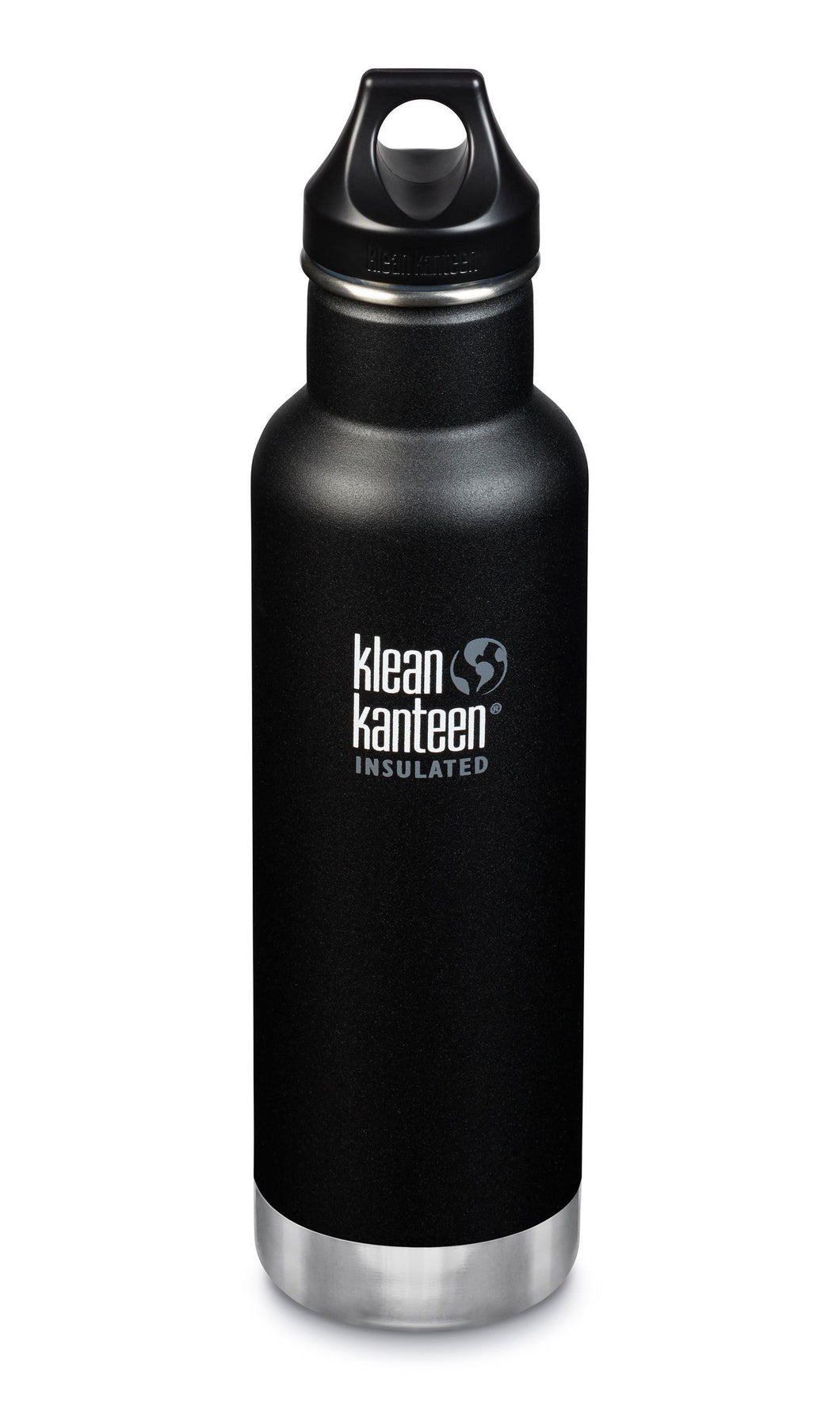 Matte green insulated bottle with a stainless steel base and a black plastic lid.