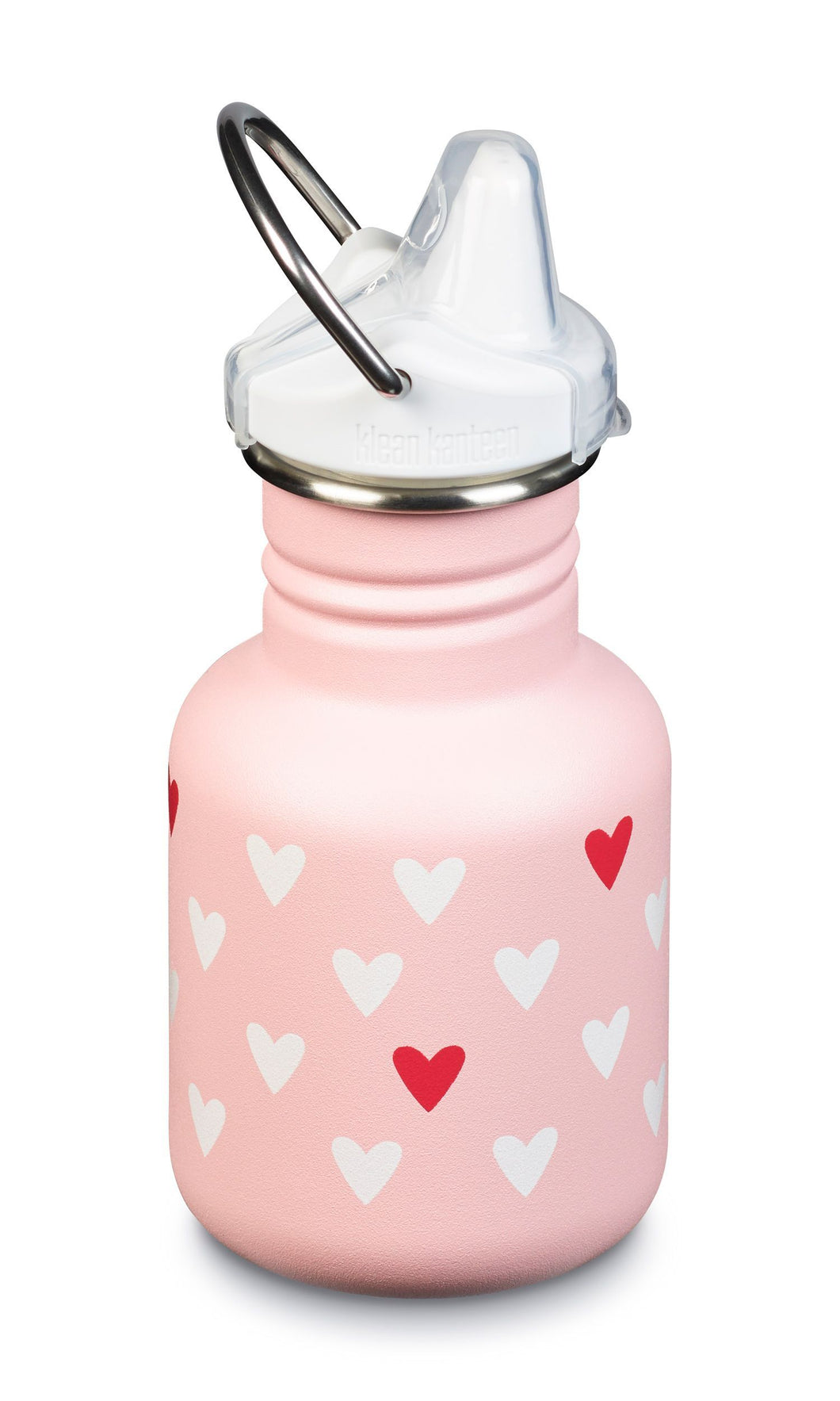 Matte light pink stainless steel bottle with a white sippy cap with a clear spill proof cover and a stainless steel swivel handle. White and red hearts printed on bottle.