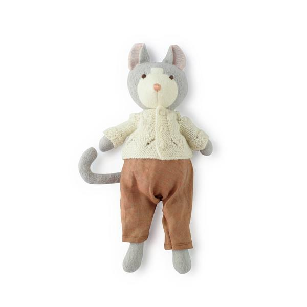 Hazel Village - Gracie Cat in Ivory Knit Sweater and Clay Linen Overalls