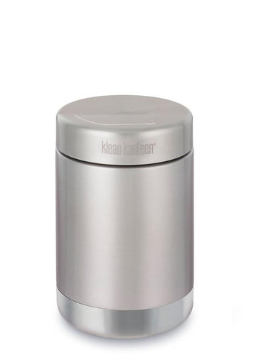 Brushed stainless cylindrical jar with matching stainless steel lid.