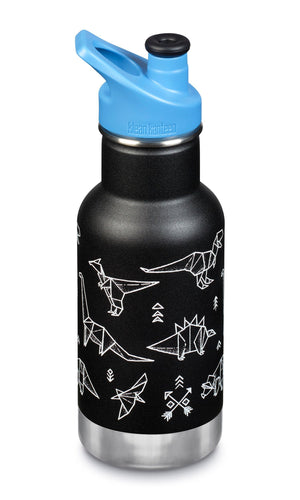 Matte medium bright blue insulated bottle with a stainless steel base and a blue plastic lid.