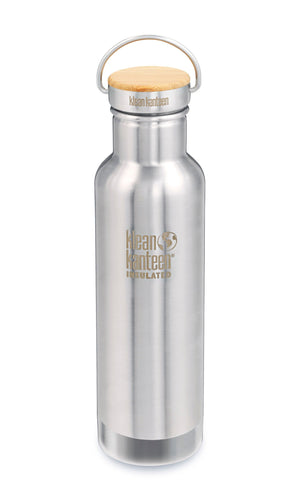 Mirrored stainless steel bottole with stainless and bamboo cap. Cap has a stainless steel swivel handle.