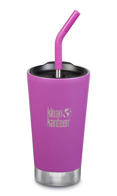 Matte black insulated tumbler with stainless steel base.