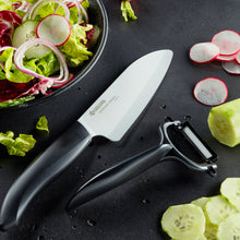 Load image into Gallery viewer, Kyocera Ceramic Santoku Knife and Peeler Set