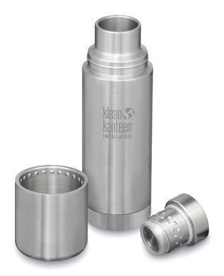 Brushed stainless steel thermal kanteen with stainless steel cap and cup that secure on top.