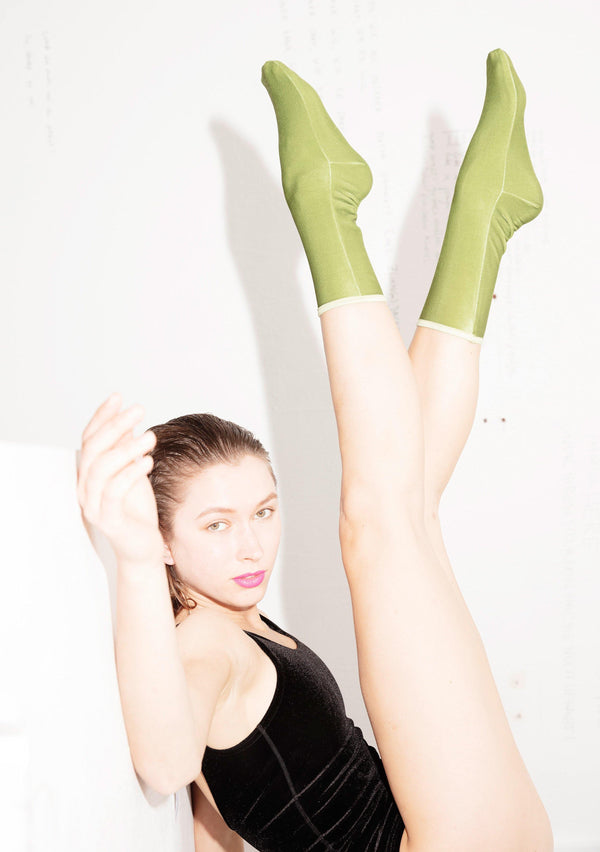 Velvet Ankle Socks - Apple Green