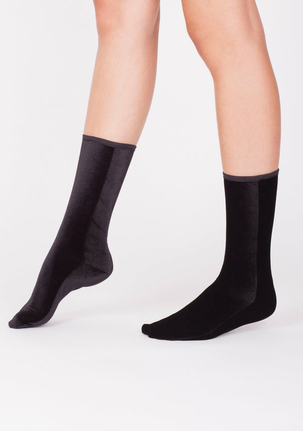 Velvet Ankle Socks - Black