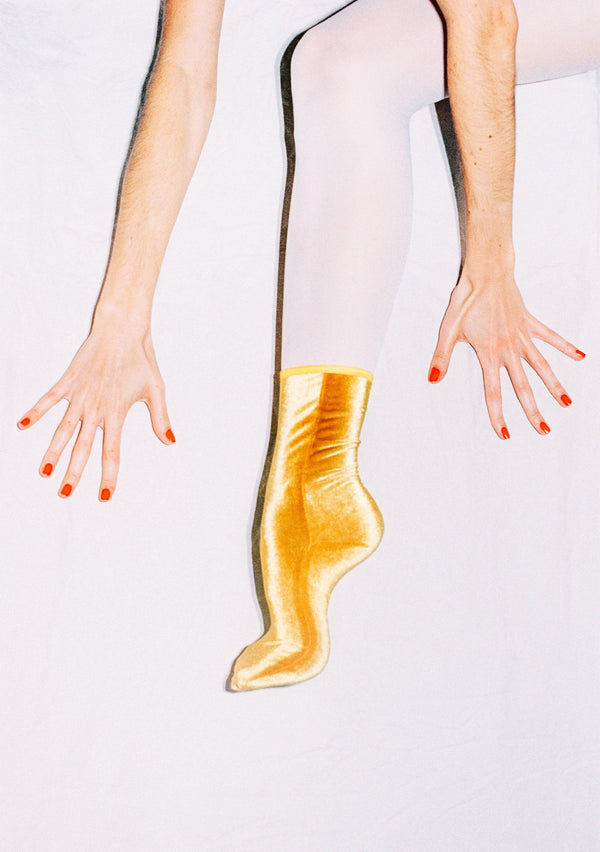 Velvet Ankle Socks - Mustard Yellow