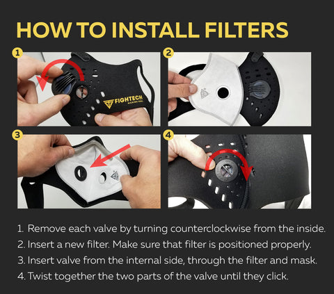replace / insert carbon n99 filter for Fightech dust mask