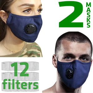2 X Dust Masks | Cotton | 12 Filters Included