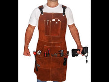 Load and play video in Gallery viewer, Leather Work Apron with Tool Pockets for Men & Women