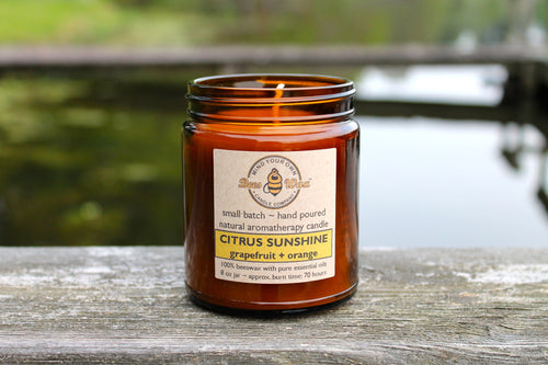 CITRUS SUNSHINE Aromatherapy Candle - orange, lemon, and grapefruit
