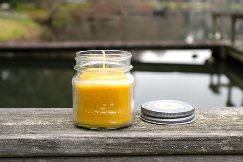 PURE BEESWAX MASON JAR CANDLES