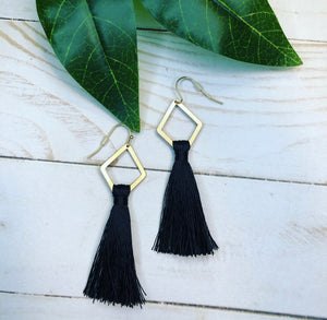 Geometric Tassel Necklace - Black