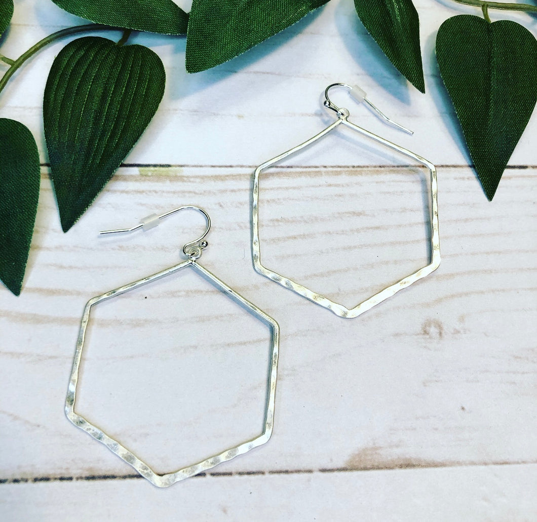 Hexagon Hoop Earring - Silver